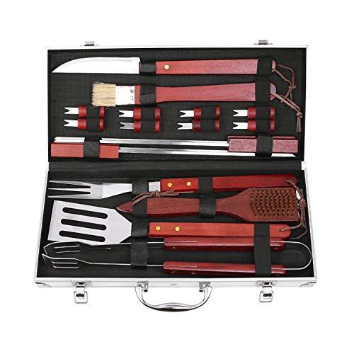 FIXKIT 18-teilig Grillbesteck Koffer,BBQ Grillzubehör Set fürs Camping, Perfektes Geschenk fürs Outdoor Familien Garten Party