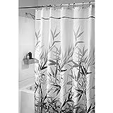 InterDesign Anzu Duschvorhang   waschbarer Duschvorhang in 180,0 cm x 200,0 cm   mit floralem Duschvorhang Motiv   Polyester grau