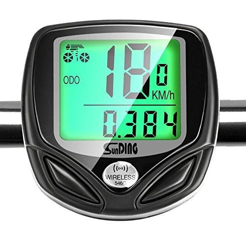 GiBot Fahrradcomputer Kabellos Drahtloser Wasserdichter Radcomputer mit Stoppuhr,16 Funktionen Geschwindigkeit Fahrradtacho,Radcomputer Tacho,Tachometer,Hintergrundbeleuchtung LCD Display (Schwarz). (Sport-programm Frames)