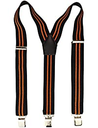 Men High Quality Trouser Braces / Suspenders | 3 Clips - Y Form with strong Clips in black/orange/black - 40mm wide - Shipped by Amazon UK