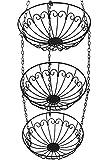 Chefarone – Frutero colgante – Cesta colgante de tres piezas – Cesta colgante con cadena de 130cm para una mayor capacidad – Canasto para frutas o verduras– Cesta verdulero de 28cm de diámetro – Carga