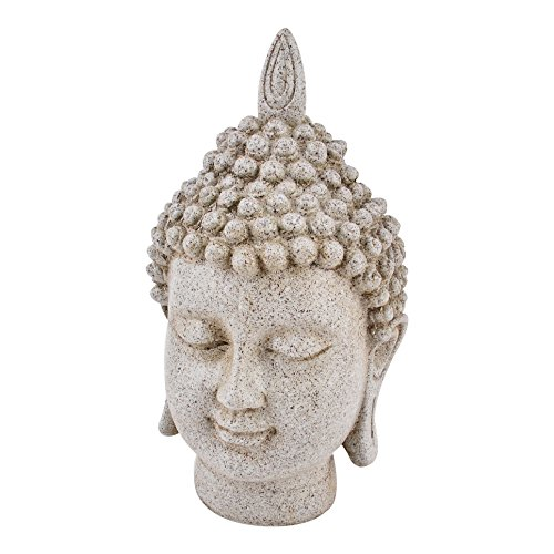 En forma de Buda figura decorativa de fibra de arcilla de 25 x 12 x 14 cm de colour gris de Estatua de la escultura de Asia