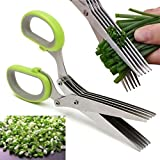 #1: KBF Kitchen Knives 5 Layers Scissors Cut Herb Spices Cooking Tools Vegetable Cutter With Cleaning Brush