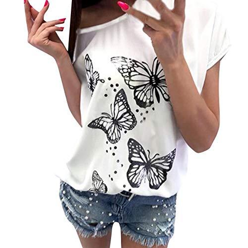 gsgeschenkTops Damen Sommer Schmetterlings-Druck-t-Shirt Flügelhülse Tägliche Persönlichkeit Kurze Ärmel Schulterfreie Tops Lässige Bluse(Weiß,M) ()