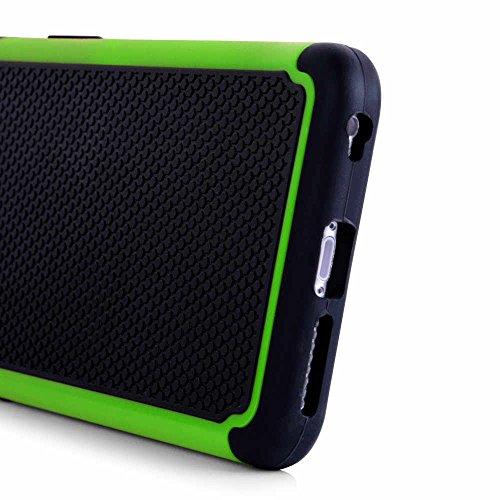 art&cherry©Outdoor Schutzhülle / Handyhülle für das Apple iPhone 5/5S +Touchstift : besonders stoßfest / wasserabweisend & extrem strapazierfähig in der Farbe BLAU Randfarbe : grün