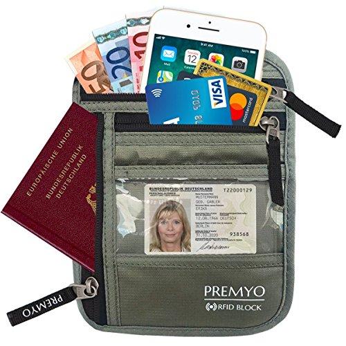 PREMYO Flacher Brustbeutel Brusttasche RFID Blocker Damen Herren Unisex Reise-Geldbeutel zum Umhängen für Reisepass Handy Sicherheits-Hals-Geldbörse mit Geheimfach enganliegend - Hals Rfid-reise-geldbörse