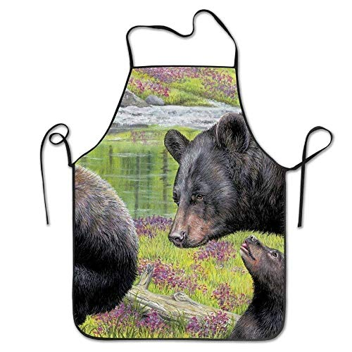 SPHGdiy Black Bear Artwork Deluxe Personalized Kitchen Apron -
