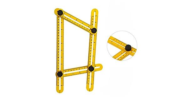 Luckxing Angle Mod/èle Outil R/ègle Multi Angle 6 C/ôt/é Multifonction R/ègle Mod/èle Outil Pliage De Mesure De Mesure dangle pour Le Trou Designer Artisan Ouvrier Charpentier Tiles
