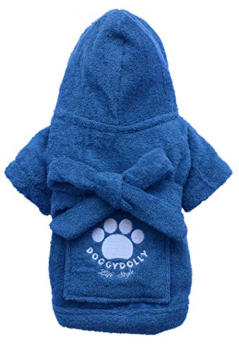 Doggy Dolly BD050 Big Dog Bademantel für Große Hunde, blau, Größe : XXS -