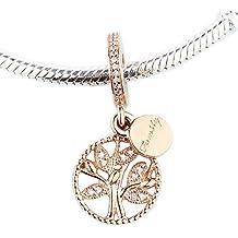 bakcci Otoño Rose oro family árbol patrimonio Dangle DIY encaja para Original Pandora pulseras 925plata encanto moda joyería