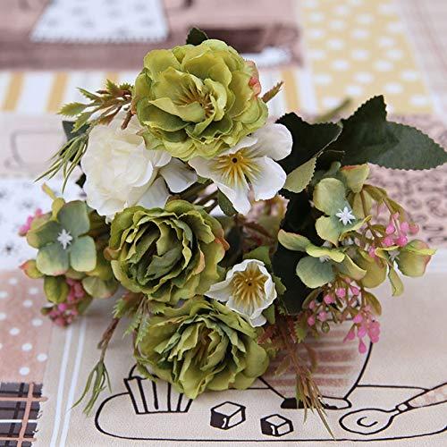 JHZHKA Künstliche Blumen Rose Silk Flowers Bouquet Kleine Pfingstrose Kunstblumen Faux Flores Hochzeit Home DIY Dekoration Valentinstaggrün -