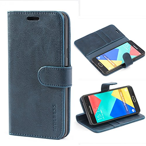 Mulbess Custodia per Samsung Galaxy A5 2016, Cover Samsung Galaxy A5 2016 Pelle, Flip Cover a Libro, Custodia Portafoglio per Samsung Galaxy A5 2016, Navy Blu