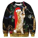 Yvelands Paar Tragen Sweatshirt Weihnachten Herren Damen Herbst Winter 3D Print Langarm Oansatz Sweatshirt Bluse(EU-52/L2,G(Herren))