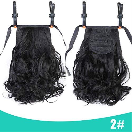 LYZHM Wigwig Frauen Lace-Up Kleine Rolle Multi-Roll Pferdeschwanz Gefälschte Haare Braid Net Red Natürliche Kurze Lockige Perücke Pferdeschwanz Headwear 10 Zoll 6
