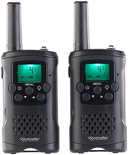 simvalley communications Walkie Talkie: 2er-Set PMR-Funkgeräte mit VOX, 10 km Reichweite, LED-Taschenlampe (Sprechfunkgeräte)
