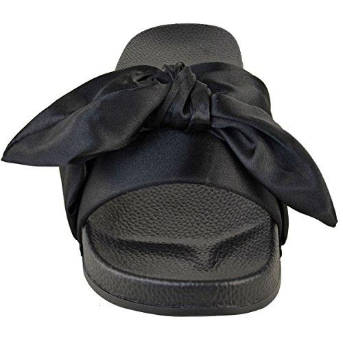 donna comodo BASSE FIOCCO passanti SATIN Sposa Matrimonio pantofole sandali taglia NERO SATINATO