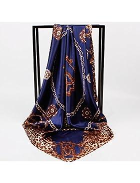 La mujer Leopardo Azul Silk-Satin Bufandas Cuadradas Oficina Moda Mantón de cabeza de 35