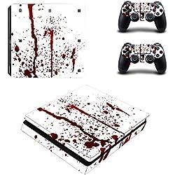 Morbuy PS4 Slim Skin Vinyl Autocollant Decal Sticker pour Playstation 4 Slim console + 2 Dualshock Manette Set (Blood Drops)