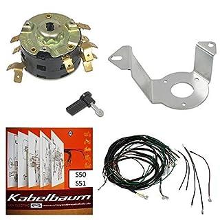 Kabelbaum + A4 Schaltplan farbig + Zündschloss + Zündschlosshalter + Zündschlüssel für Simson S50 S51 S70