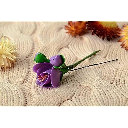 figuras kawaii porcelana fria Horquilla para el pelo hecha a mano de porcelana fria flor de color violeta