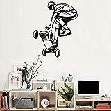 LovelyHomeWJ Arte Skateboard Ride Ragazzi Adesivi murali Carta da Parati con pareti Grandi Sala da Ragazzi Adesivi murali Ornament Poster smontabile 56x70cm