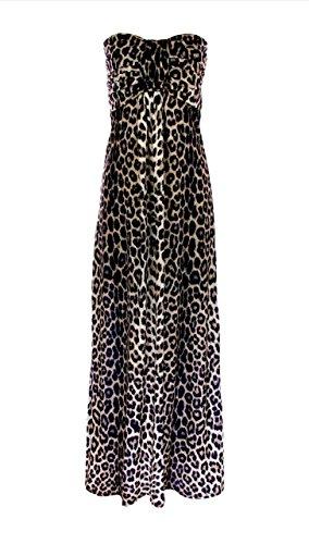 GIRLZWALK FRAUEN LEOPARD DRUCK KNOTEN FRONT BOOB ROHR STRAPLESS LANGE DAMEN MAXI KLEID (Leopard braun, ML 40-42) (Print-rohr-maxi Kleid)