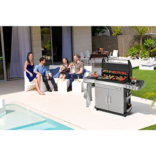 Campingaz Gas BBQ 4 Series RBS LXS 113 x 62 x 117.6 cm with Smoke-Free Barbecue, Ceramic Burner System, Side Burner, InstaClean and Culinary Modular System