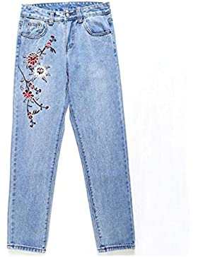 Fashion Floral Embroidery Jeans Female Casual Jeans Pants Summer Thin Light Blue Women Denim Pants