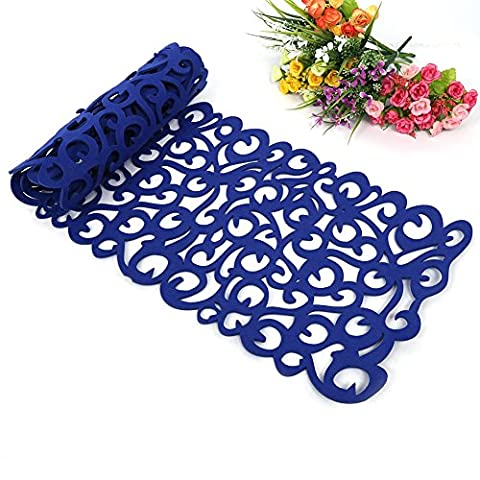 Felt Table Runner, Hollow Flower Design Tablecloth Table Mats Table Placemats Coasters Can Be Used As an Accessory for your Dining Room Decoration, Washable, 100 x 30 cm