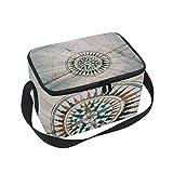 COOSUN Alte Weinlese-Seekarte und Kompass Isolierte Mittagessen-Cooler Wiederverwendbare Einkaufstasche mit Verstellbarem Schultergurt für Männer Groß Multi
