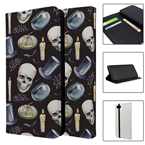 Halloween Totenkopf Muster Full Flip Case Schutzhülle für für Apple iPhone 8–s4028