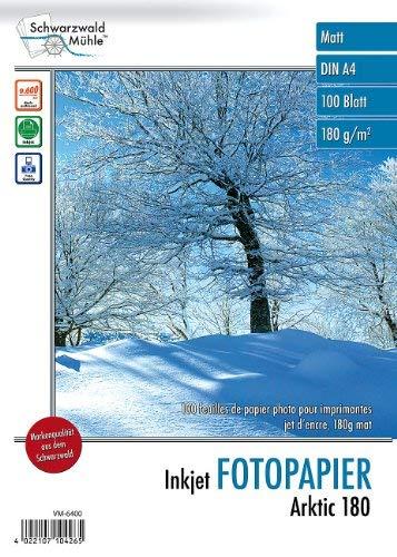 "Schwarzwald Mühle Druckerpapier: 100 Blatt Inkjet-Fotopapier\""Arktic\"" matt 180g/m² A4 (Fotopapier DIN A4)"