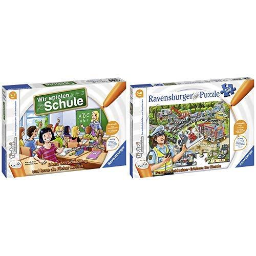Ravensburger tiptoi Wir spielen Schule - 00733 / Erlebe interaktiv einen kompletten Schultag &  00554 Tiptoi Puzzle Im Einsatz, 100 Teile
