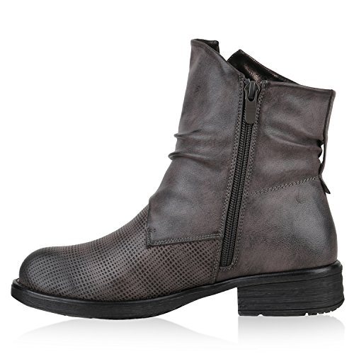 Gefütterte Damen Biker Boots Nieten Prints Stiefeletten Grau