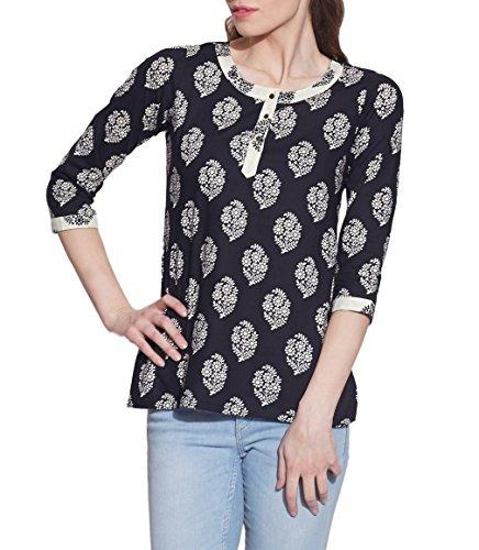 schwarzen indischen gedruckt 3-Tasten-Damen Baumwolle Spitze - einzigartige  Mode für Frauen -