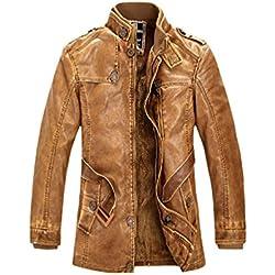 Baymate - Chaqueta de PU Cuero para Hombre - Zip Chaqueta - con Cinturones Amarillo M