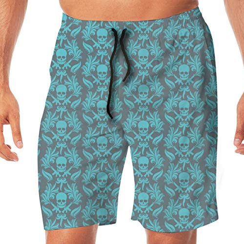 OOworld Herren Strand Shorts Damast Totenköpfe Blau-strahlend-in-Kobold-Blau Totenkopf Badehose Schnelltrocknend Hose mit Taschen, L