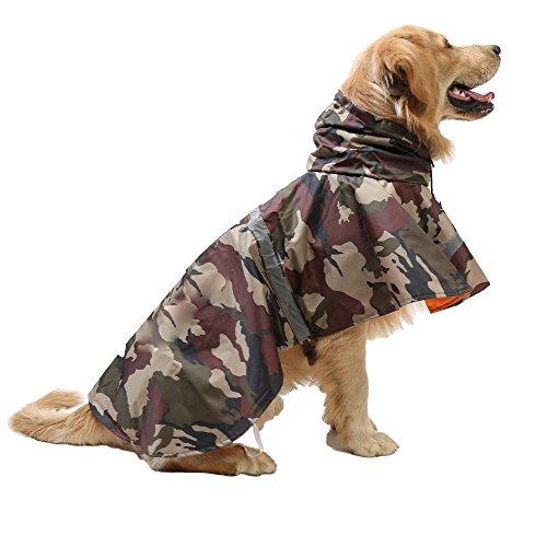 Hund Regenjacke Mit Leinenhaken Haustier Regenmantel Wasserdicht Atmungsaktiv Katze Kapuzenponcho Verstellbar Mit Reflektierendem Streifen ( XL )