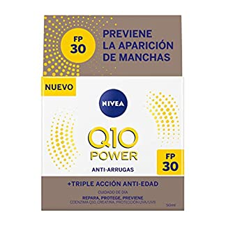 NIVEA Q10 Power Antiarrugas Cuidado de Día Triple Defensa FP30 (1 x 50 ml), crema hidratante antiarrugas, crema facial con protector solar 30, crema de día
