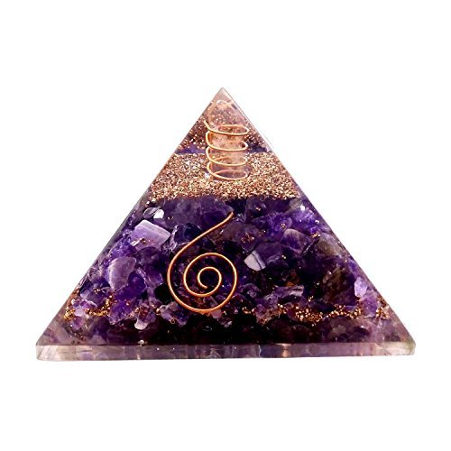 Aatm Reiki Energized Chakra Healing Amethyst Organite Pyramid With Clear Crystal Gemstone/ EMF Protection Meditation Yoga Energy Generator (