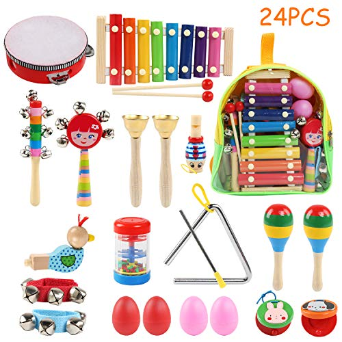 BelleStyle Musical Instruments, 24Pcs 13 Types Wooden Musical Toys Set Percussion Instrument Toys Tambourine Xylophone Early Learning Musical Toys Set for Boys Girls with Carrying Bag