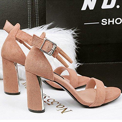 Azbro Women's Ankle Strap Open Toe High Chunky Heels Sandals Khaki