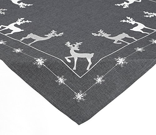 Mitteldecke Tischdecke Advent Stickerei Anthrazit Silber, 85x85 cm