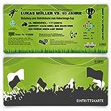 Einladungskarten (100 Stück) zum Geburtstag für Kinder im Fußball Ticket Motiv - Grün