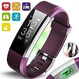 Aquarius-AQ125HR-Touch-Bildschirm-Fitness/Activity-Tracker mit dynamischer Herzfrequenz-Überwachung, Multi-Sport-Überwachung/Verfolgung, Schlaf-Überwachung, GPS-Anschluss und Anruf/Nachrichten-Benachrichtigung für Android und Apple IOS, violett, Einheitsgröße