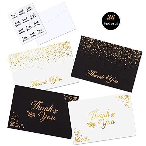 ck Dankeskarten mit 6 Einzigartige Entwürfe Freier Raum Danken Ihnen Anmerkungen Mit Umschlägen Und Dichtungsaufklebern, Schwarz und weiß ()