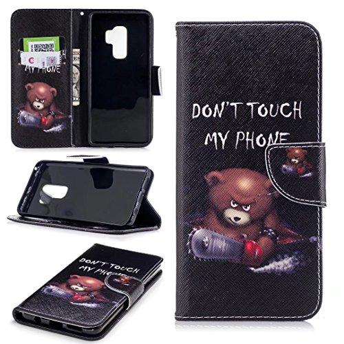 Galaxy S9 Plus Hülle,Samsung Galaxy S9 Plus Hülle,COWX PU Leder Hülle für Samsung Galaxy S9 Plus Tasche Bär