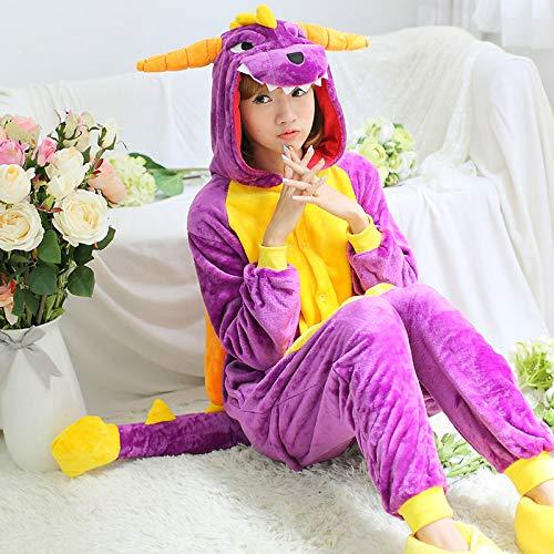 SALICEHB Nette Flanell Lila Pyjamas Für Frauen Winter Dinosaurier Kostüm Cartoon Anime Unisex Erwachsene Anime Pyjama Für Paare