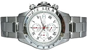 Oskar Emil Gents Monterey Steel Sports Chronograph Watch with White Dial