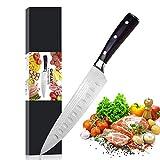 Kochmesser Küchenmesser Damast 20cm Profi Messer Chefmesser Allzweckmesser Rostfreiem Stahl, Extra Scharfe Messerklinge mit Ergonomischer Griff